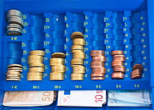 Euro in a cash box. European money with coins and bills in a cash box Royalty Free Stock Photography