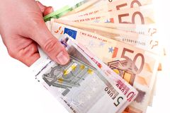 Euro Cash in Hand Royalty Free Stock Images