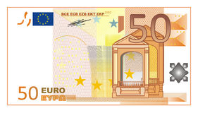 Euro cash money. Cash of euro with numbers 50 Royalty Free Stock Photo