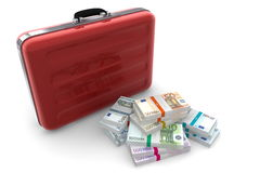 Euro Cash Packets and Metallic Red Briefcase. Big pile of euro banknotes with wrapper / banderole next to a metallic red briefcase Royalty Free Stock Photography