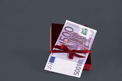 500 euro cash for present isolated Royalty Free Stock Photography