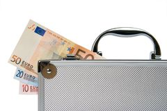 Euro cash in silver suitcase isolated Royalty Free Stock Image
