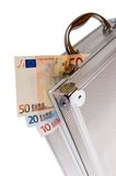 Euro cash in silver suitcase isolated Stock Photos