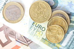 Euro cash top view Royalty Free Stock Images