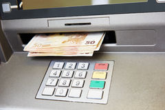 Euro cash withdrawal Stock Photography