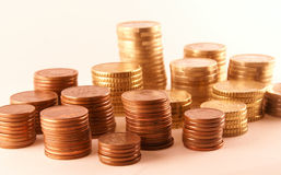 Euro and cent. Pile of Euro and Cent coins Royalty Free Stock Photography