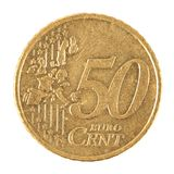 Euro Cent Coin. One Euro coin isolated on white background Royalty Free Stock Photography