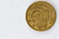 50 Euro cent Coin with Espania Cervantes backside used look. Fifty Euro cent Coin with Espania Cervantes backside used look Stock Photo