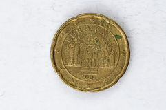 20 Euro cent Coin with German backside used look Stock Image