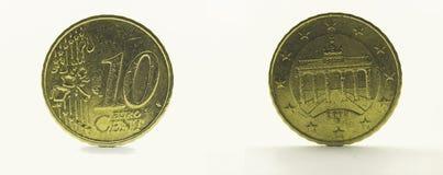 10 euro cent 2002. Coin Germany 10 euro cent 2002. Brandenburg Gate Stock Photos