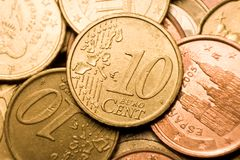 Euro cent coin macro. Small DOF Royalty Free Stock Photo