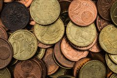 Euro cent coin mix royalty free stock photography