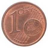 Euro cent coin. One euro cent coin closeup on white background Stock Photo