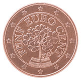 Euro cent coin. Shows alpine primroses on a white background Stock Images