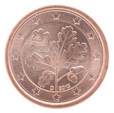 Euro cent coin. Shows an oak branch on a white background Stock Photo