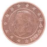 Euro cent coin. Shows a portrait of King Albert II on a white background Stock Image