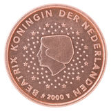 Euro cent coin. Shows a portrait of Queen Beatrix on a white background Royalty Free Stock Image