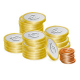 Euro and Cent Coin Stack Vector Icons. Vector Illustration of stacked european currency Euro and Cent coins isolated on white background Royalty Free Stock Photo