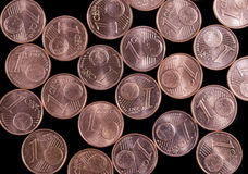 Euro cent coins. Arranged on black background Royalty Free Stock Photography