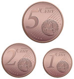 Euro Cent Coins. Set of small euro cent coins Royalty Free Stock Images
