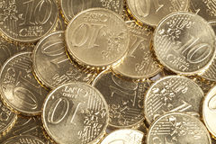 10 Euro Cent coins Royalty Free Stock Images