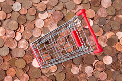 Euro cent coins and empty shopping cart Royalty Free Stock Photography