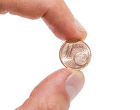 Euro cent in a hand Stock Photos