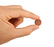 1 euro cent między palcami Zdjęcie Stock