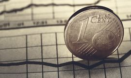 1 euro cent on newspaper. Chart royalty free stock image