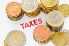 Euro, cent och skatter Arkivfoton