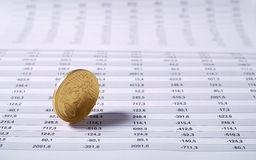 Euro cent on stock chart royalty free stock photos
