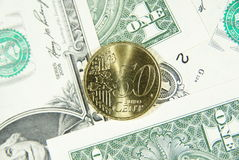 Euro cent vijftig en dollars Stock Fotografie