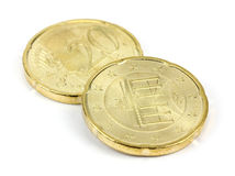 Euro cent on white background. Royalty Free Stock Photography