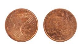 5 euro- centavo, desde 2003 fotografia de stock