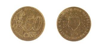 Euro centesimo cinquanta su fondo bianco Fotografia Stock
