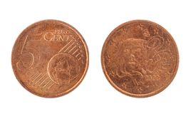 5 euro centesimo, dal 2003 Fotografia Stock