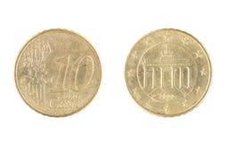 10 euro centesimo, dal 2002 Immagine Stock Libera da Diritti