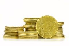 Euro centmuntstuk op wit Stock Afbeeldingen