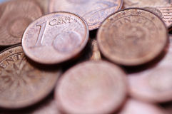 Euro centmuntstukken Royalty-vrije Stock Afbeeldingen