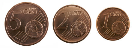 Euro Cents. On white background Royalty Free Stock Images