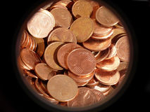 Euro Cents. In black circular frame - from the macro lense Royalty Free Stock Photo