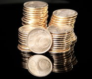 Euro cents. Towers of five-cent coins Stock Image