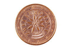 Euro Cents. German 2 cents of euros coin Stock Images
