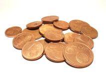 Euro cents. Coins isolated over white Stock Photos