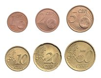 Euro cents coins. Six pieces isolated royalty free stock image