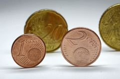 Euro Cents. Europian coins - different cent coins Stock Photo