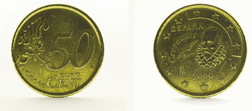 50 euro cents isolated on white background. Both sides of the coin of 50 euro cents isolated on white background Royalty Free Stock Photo