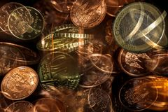 Euro cents scramble. Euro cents coins multi exposure Stock Images