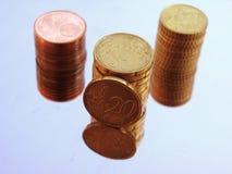 Euro centstapel Royalty-vrije Stock Fotografie