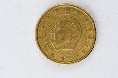 50 Euro centu moneta z Belgia zadkiem używał spojrzenie Zdjęcia Royalty Free
